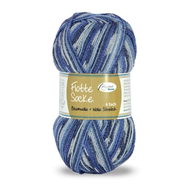 Flotte Socke 4f. Baumwolle + Wolle Stretch