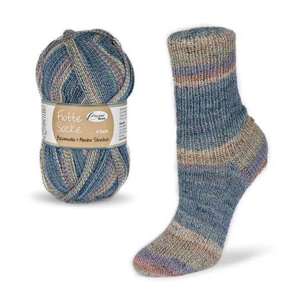 Flotte Socke 4f. Baumwolle + Merino Stretch